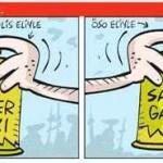 Karikatür – Türkiye'de biber gazı… Suriye'de sarin gazı…