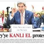ABD dışişleri bakanı kan dökmeye hazırlanırken kanlı el protestosu yapıldı