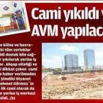 Cami yıkıldı yerine AVM yapılacak
