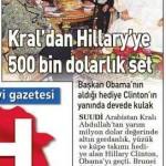 Suudi Arabistan Kralı, Hillary Clinton'a 500000 dolarlık altın takı hediye etmiş
