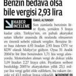 Benzin bedava olsa bile vergisi 2,93 lira