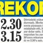 Dolar: 2,30 TL Euro: 3,15 TL