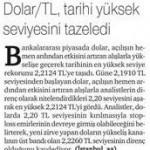 Dolar/TL tarihi yüksek seviyesini tazeledi