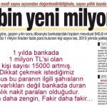 1 yılda bankada 1 milyon TL'si olan kişi sayısı 15000 arttı