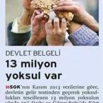 Devlet belgeli 13 milyon yoksul var