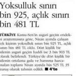 Yoksulluk sınırı bin 925 açlık sınırı bin 481TL