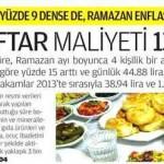 Ramazan ayında 4 kişilik bir ailenin iftar maliyeti 1346 lira