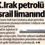 Kuzey Irak'tan Türkiye'ye geçirilen petrol İsrail'e satıldı