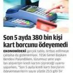 Son 5 ayda 380180 kişi kredi kartı borcunu ödeyemedi