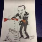 Ünlü çizer Latuff, Erdoğan karikatürünü bu kez THY'nin çöp poşeti üzerine çizdi