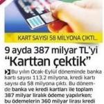Kart sayısı 58 milyona çıktı