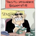 Karikatür – Sendika işçiden yana gibi görünüp emeği satan çetedir