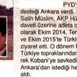 PYD lideri Ekim 2014, Temmuz 2015, Ekim 2015'te Türkiye'yi ziyaret etti