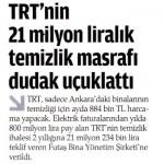 TRT'nin Ankara'daki binalarının temizliği için ayda 884000 TL harcanıyor