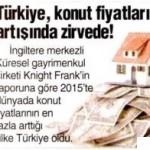 2015 yılında konut fiyatlarının en çok arttığı ülke Türkiye oldu