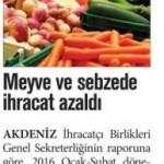 Meyve ve sebzede ihracat azaldı