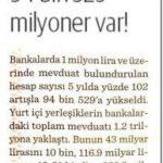 Türkiye'de 94529 milyoner var