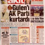 Yeni Akit Gazetesi 30 Kasım 2013: Gülen'i Ak Parti kurtardı